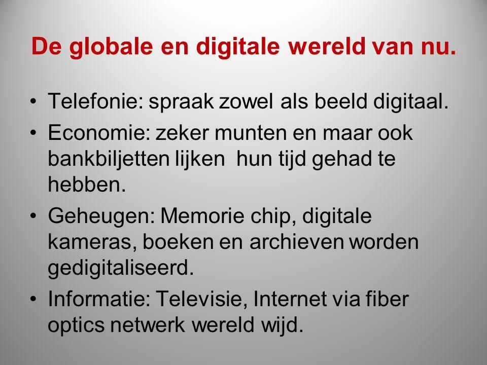 De globale en digitale wereld van nu. Telefonie: spraak zowel als beeld digitaal. Economie: zeker munten en maar ook bankbiljetten lijken hun tijd geh
