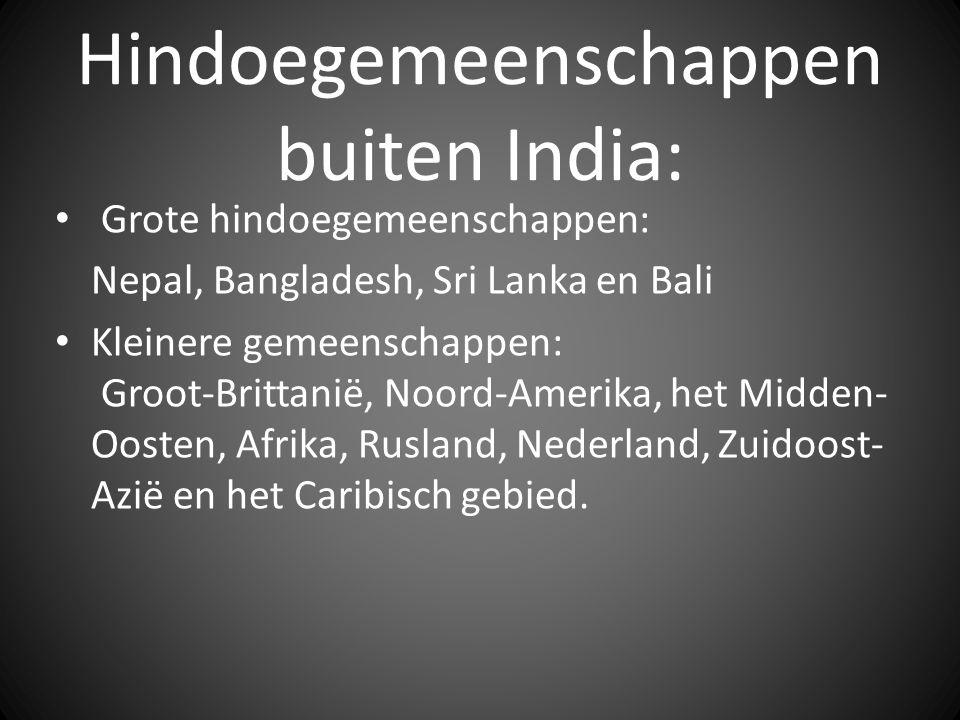Hindoegemeenschappen buiten India: Grote hindoegemeenschappen: Nepal, Bangladesh, Sri Lanka en Bali Kleinere gemeenschappen: Groot-Brittanië, Noord-Amerika, het Midden- Oosten, Afrika, Rusland, Nederland, Zuidoost- Azië en het Caribisch gebied.
