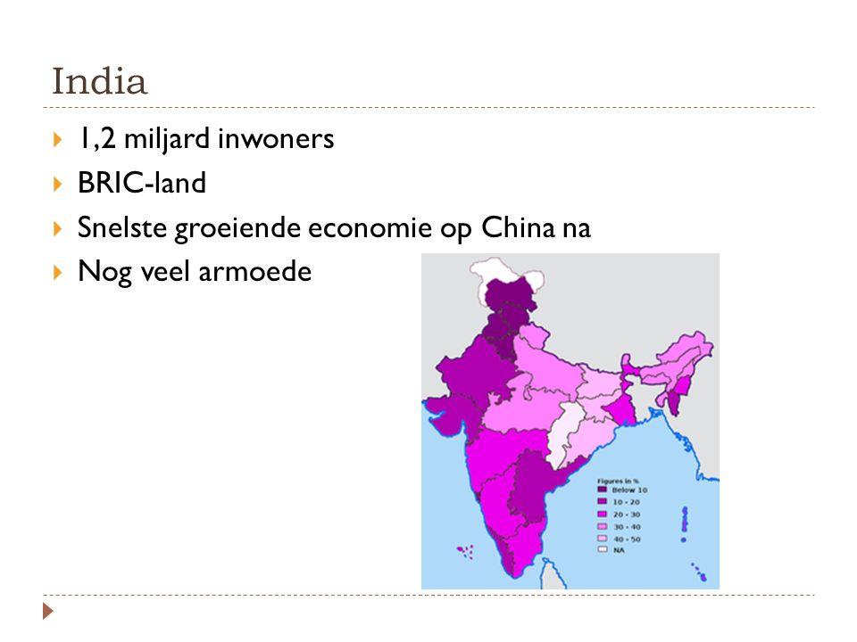 India  1,2 miljard inwoners  BRIC-land  Snelste groeiende economie op China na  Nog veel armoede