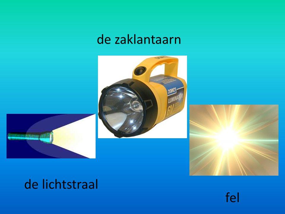 de zaklantaarn de lichtstraal fel