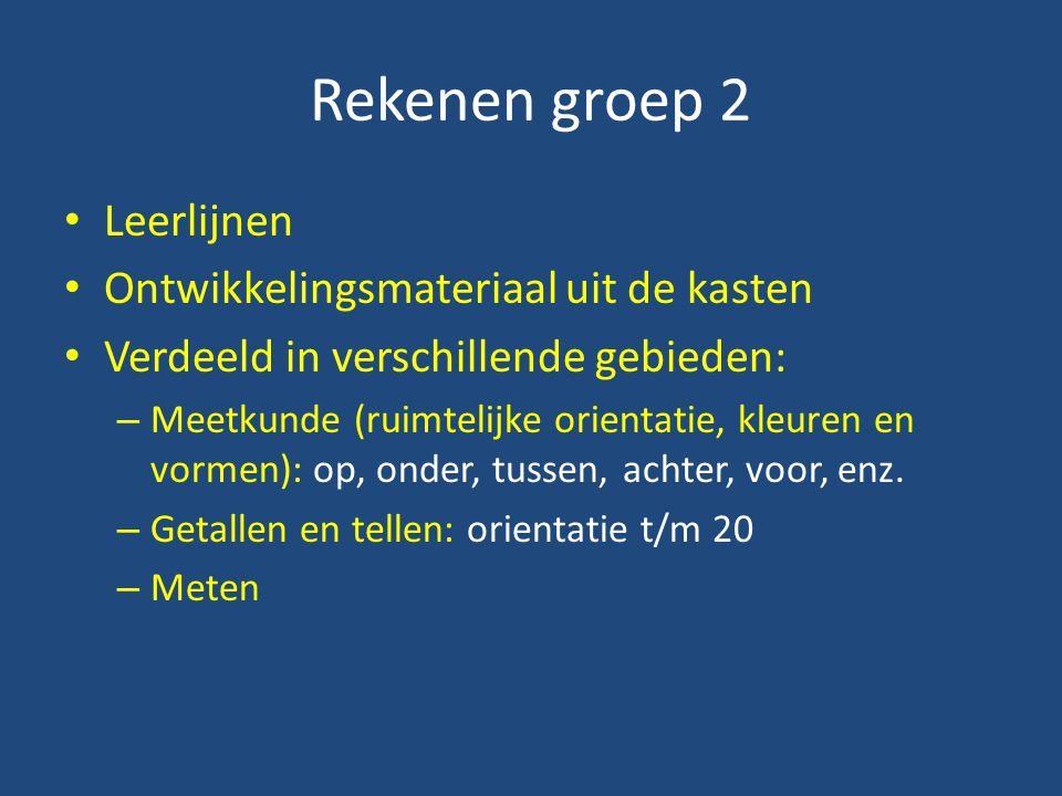 Rekenen groep 2 Leerlijnen Ontwikkelingsmateriaal uit de kasten Verdeeld in verschillende gebieden: – Meetkunde (ruimtelijke orientatie, kleuren en vormen): op, onder, tussen, achter, voor, enz.