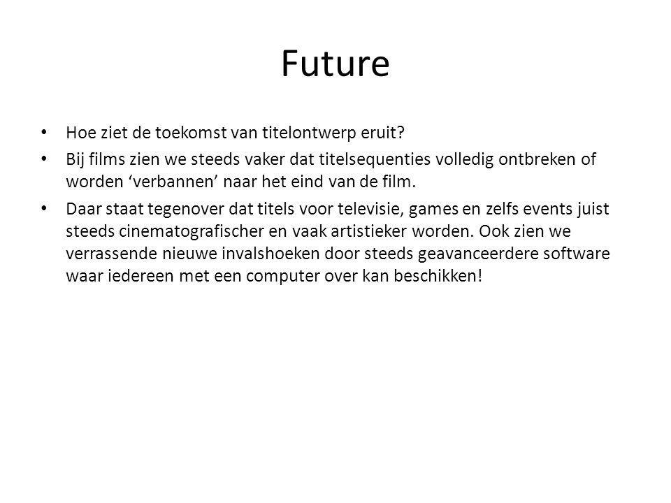 Future Hoe ziet de toekomst van titelontwerp eruit.
