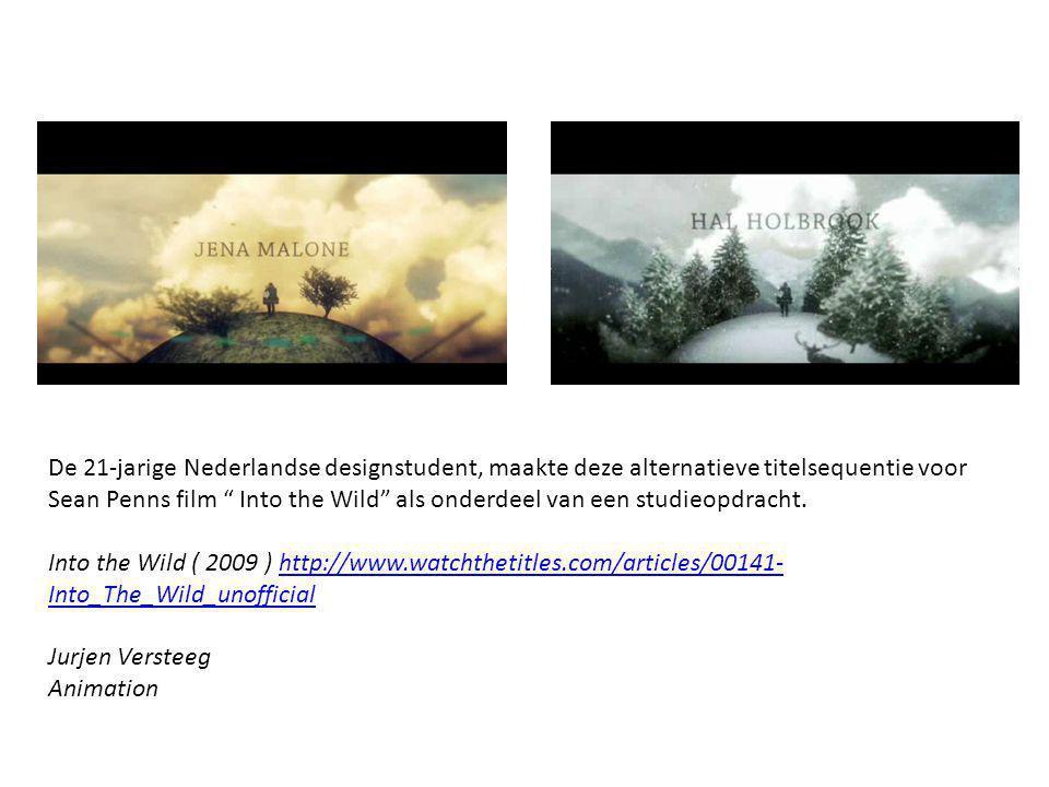 De 21-jarige Nederlandse designstudent, maakte deze alternatieve titelsequentie voor Sean Penns film Into the Wild als onderdeel van een studieopdracht.