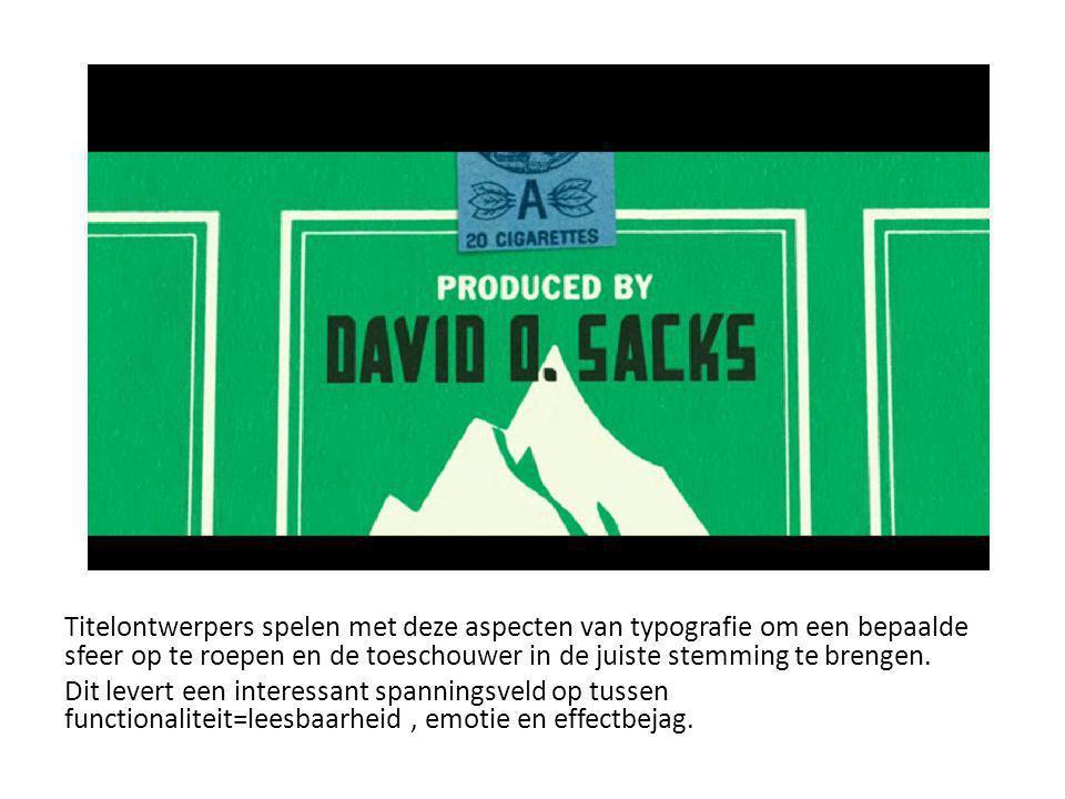 Titelontwerpers spelen met deze aspecten van typografie om een bepaalde sfeer op te roepen en de toeschouwer in de juiste stemming te brengen.