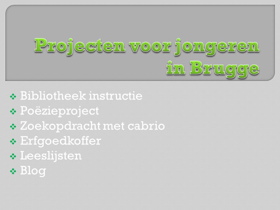 Bibliotheek instructie  Poëzieproject  Zoekopdracht met cabrio  Erfgoedkoffer  Leeslijsten  Blog