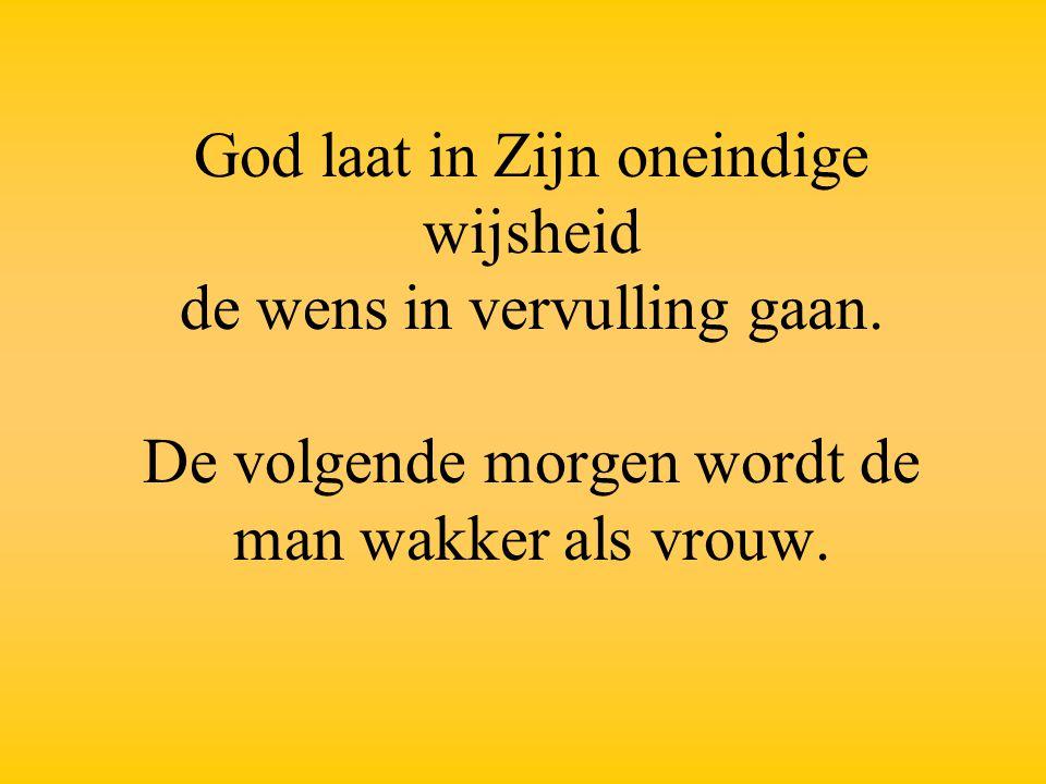 God laat in Zijn oneindige wijsheid de wens in vervulling gaan. De volgende morgen wordt de man wakker als vrouw.
