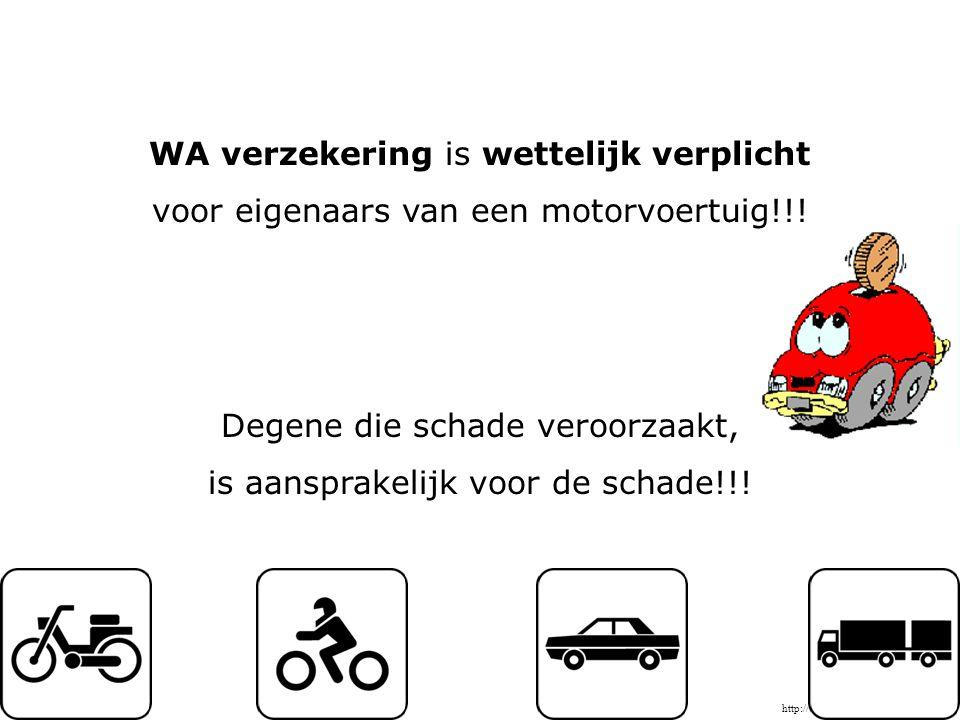 WA verzekering is wettelijk verplicht voor eigenaars van een motorvoertuig!!.