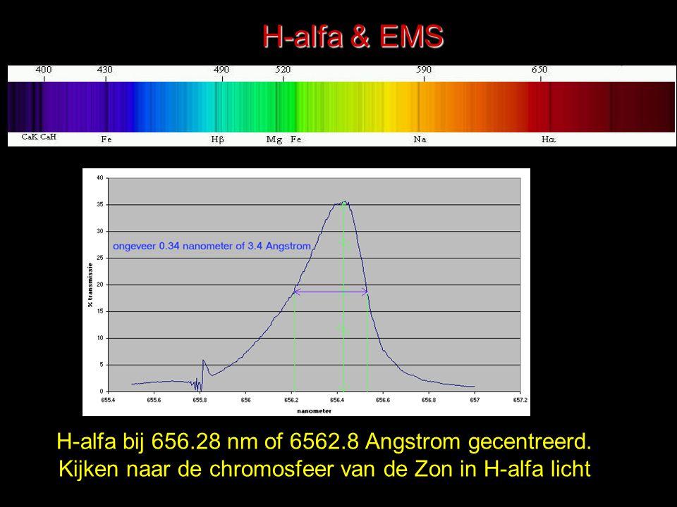 H-alfa bij 656.28 nm of 6562.8 Angstrom gecentreerd. Kijken naar de chromosfeer van de Zon in H-alfa licht H-alfa & EMS