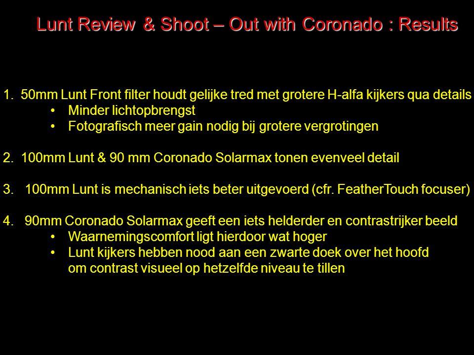Lunt Review & Shoot – Out with Coronado : Results 1.50mm Lunt Front filter houdt gelijke tred met grotere H-alfa kijkers qua details Minder lichtopbre