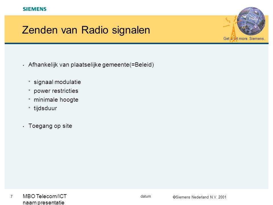  Siemens Nederland N.V.2001 Get a bit more. Siemens.