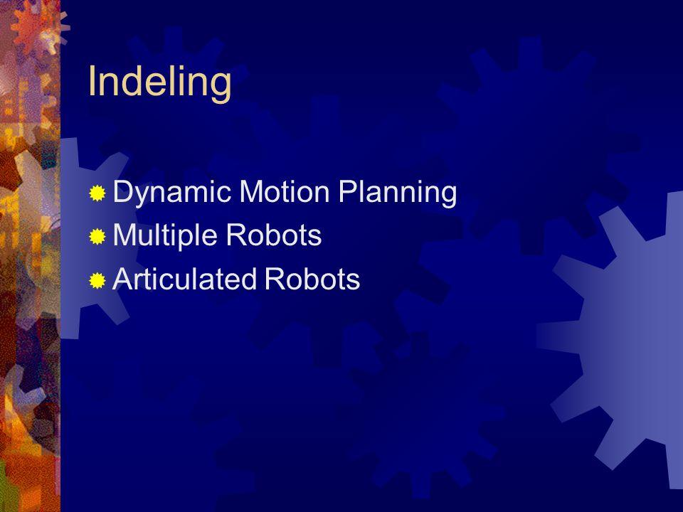 Dynamic motion planning Positie obstakel en robot uitzetten tegen tijd.