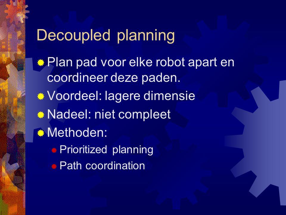Decoupled planning  Plan pad voor elke robot apart en coordineer deze paden.
