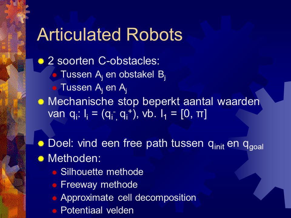Articulated Robots  2 soorten C-obstacles:  Tussen A j en obstakel B j  Tussen A j en A j  Mechanische stop beperkt aantal waarden van q i : I i = (q i -, q i + ), vb.