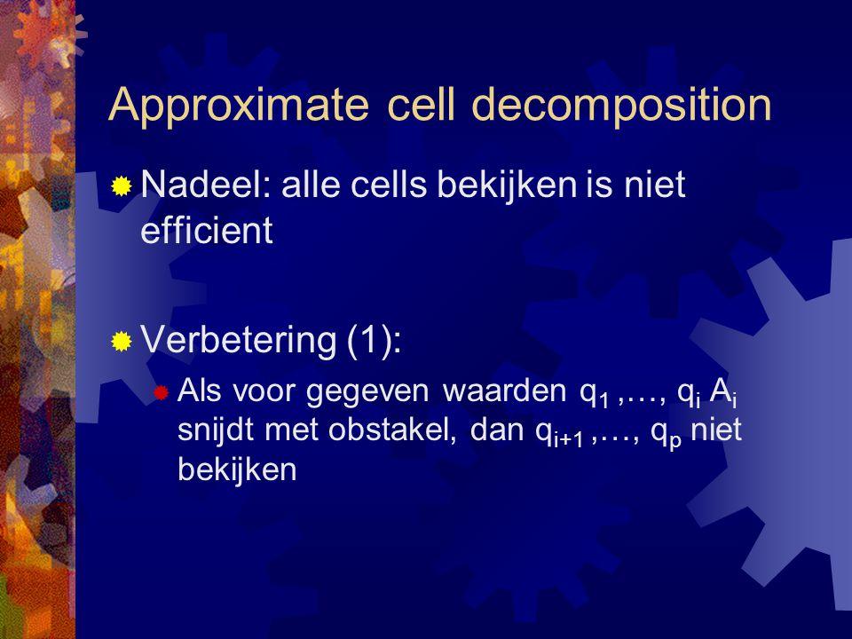 Approximate cell decomposition  Nadeel: alle cells bekijken is niet efficient  Verbetering (1):  Als voor gegeven waarden q 1,…, q i A i snijdt met obstakel, dan q i+1,…, q p niet bekijken