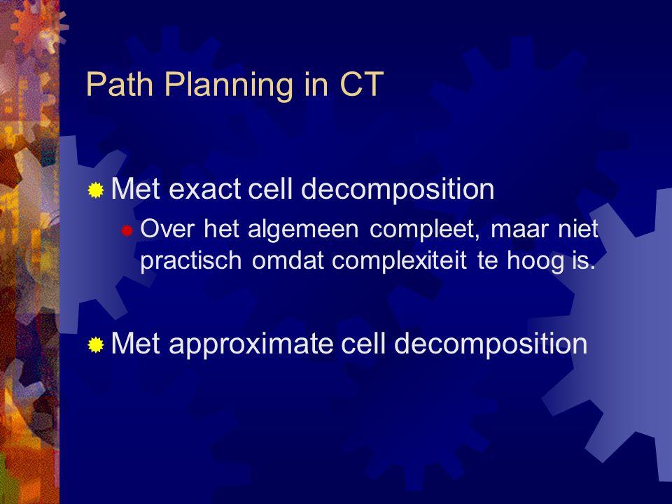 Path Planning in CT  Met exact cell decomposition  Over het algemeen compleet, maar niet practisch omdat complexiteit te hoog is.