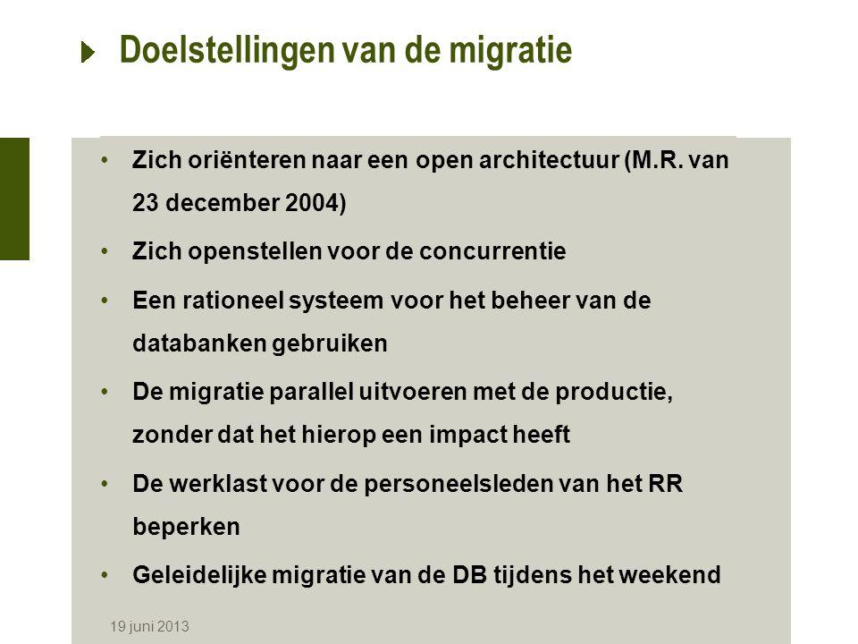 19 juni 2013 Doelstellingen van de migratie Zich oriënteren naar een open architectuur (M.R.