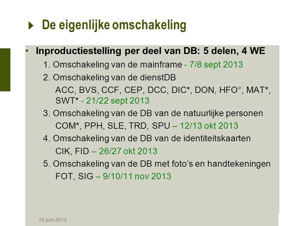 19 juni 2013 De eigenlijke omschakeling Inproductiestelling per deel van DB: 5 delen, 4 WE 1.