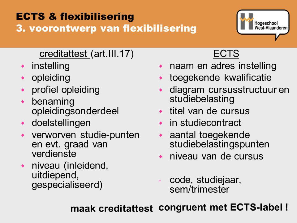 ECTS & flexibilisering 3. voorontwerp van flexibilisering creditattest (art.III.17) w instelling w opleiding w profiel opleiding w benaming opleidings