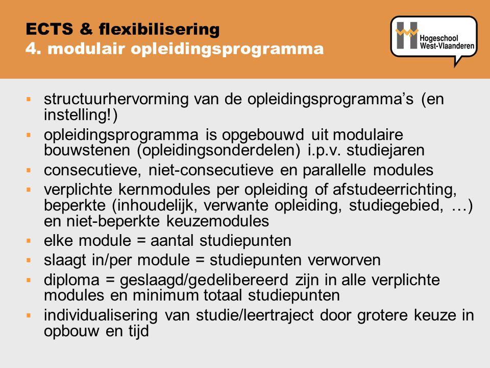 structuurhervorming van de opleidingsprogramma's (en instelling!)  opleidingsprogramma is opgebouwd uit modulaire bouwstenen (opleidingsonderdelen)