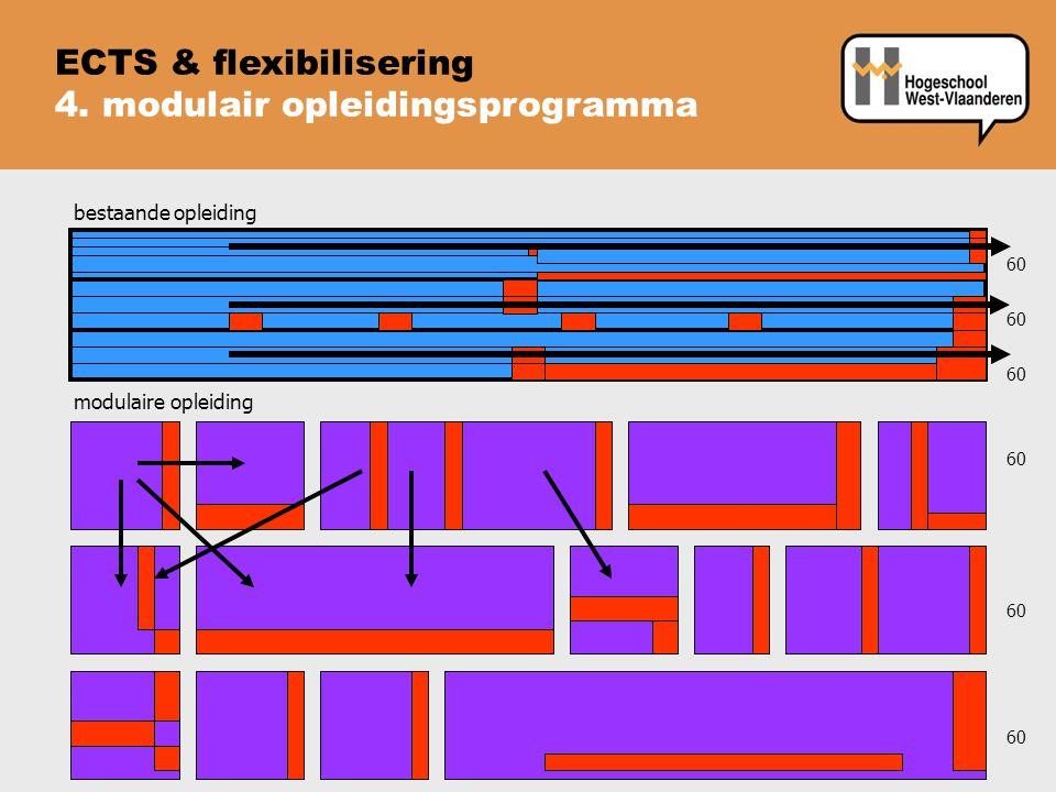 bestaande opleiding 60 modulaire opleiding 60 60 ECTS & flexibilisering 4. modulair opleidingsprogramma