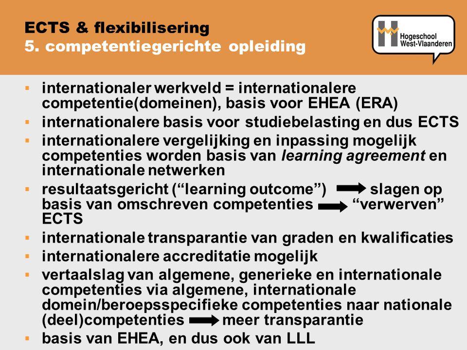  internationaler werkveld = internationalere competentie(domeinen), basis voor EHEA (ERA)  internationalere basis voor studiebelasting en dus ECTS 