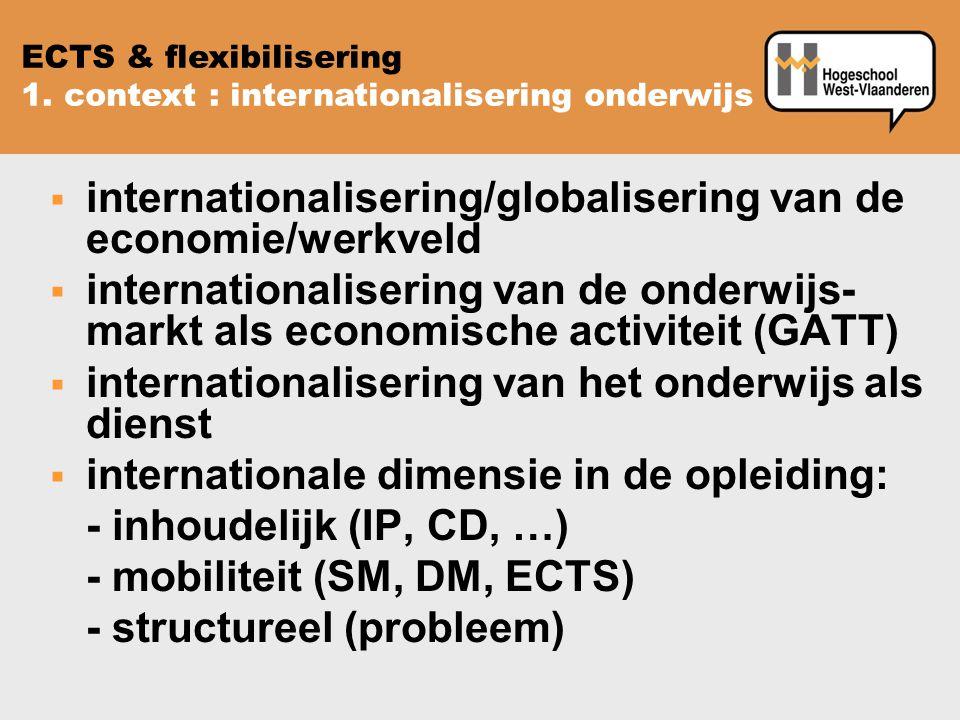  internationalisering/globalisering van de economie/werkveld  internationalisering van de onderwijs- markt als economische activiteit (GATT)  internationalisering van het onderwijs als dienst  internationale dimensie in de opleiding: - inhoudelijk (IP, CD, …) - mobiliteit (SM, DM, ECTS) - structureel (probleem) ECTS & flexibilisering 1.