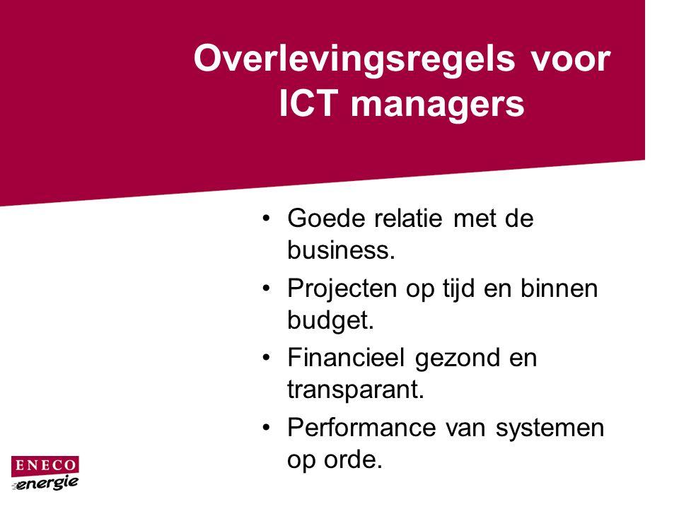 Overlevingsregels voor ICT managers Goede relatie met de business. Projecten op tijd en binnen budget. Financieel gezond en transparant. Performance v