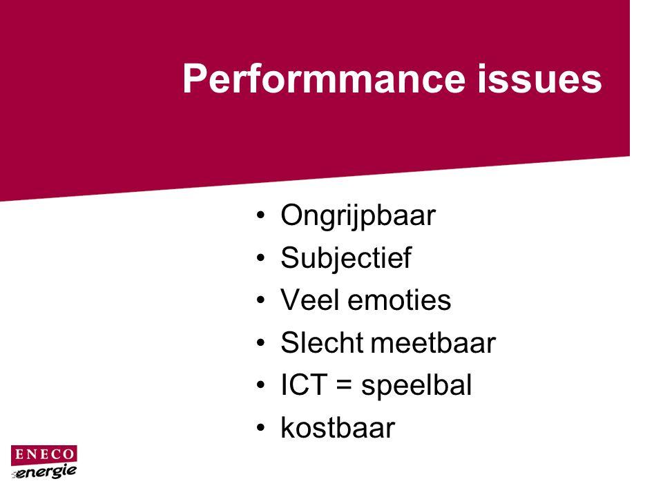 Performmance issues Ongrijpbaar Subjectief Veel emoties Slecht meetbaar ICT = speelbal kostbaar