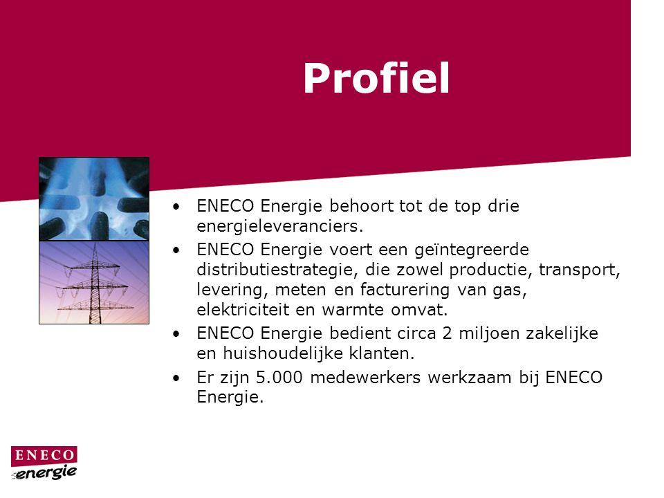 Profiel ENECO Energie behoort tot de top drie energieleveranciers. ENECO Energie voert een geïntegreerde distributiestrategie, die zowel productie, tr