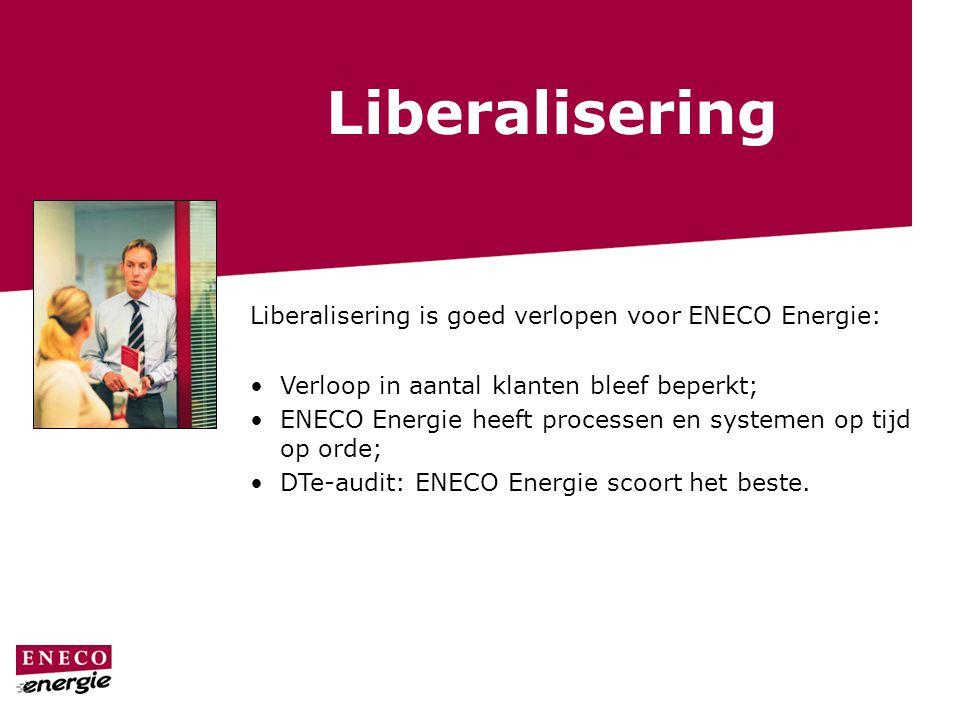 Liberalisering Liberalisering is goed verlopen voor ENECO Energie: Verloop in aantal klanten bleef beperkt; ENECO Energie heeft processen en systemen op tijd op orde; DTe-audit: ENECO Energie scoort het beste.