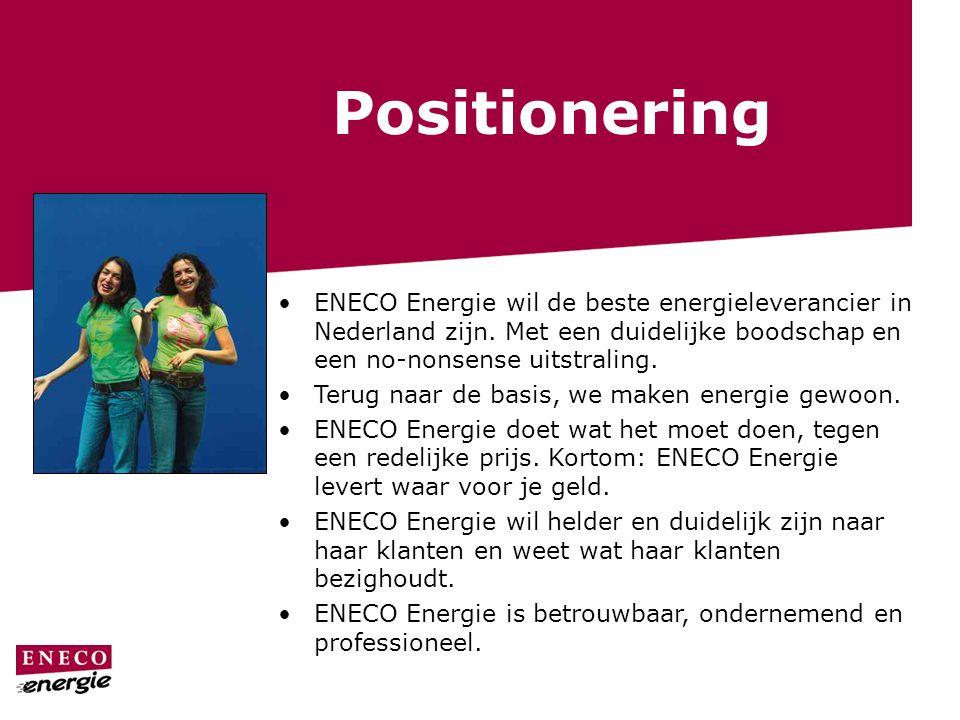 Positionering ENECO Energie wil de beste energieleverancier in Nederland zijn. Met een duidelijke boodschap en een no-nonsense uitstraling. Terug naar