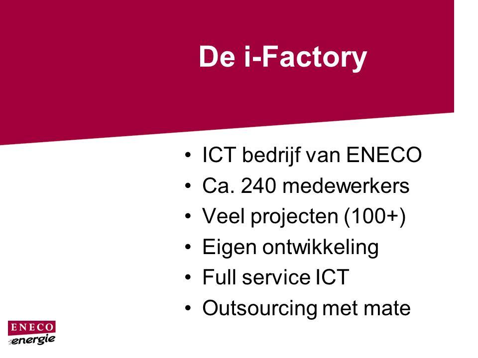De i-Factory ICT bedrijf van ENECO Ca. 240 medewerkers Veel projecten (100+) Eigen ontwikkeling Full service ICT Outsourcing met mate