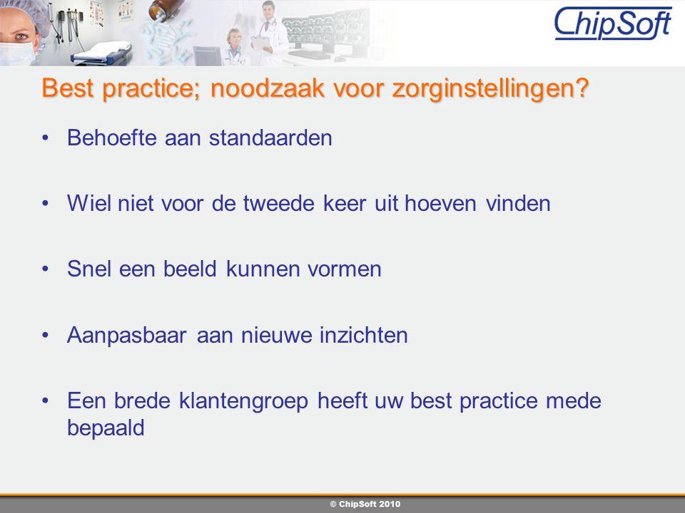 Best practice; noodzaak voor zorginstellingen? Behoefte aan standaarden Wiel niet voor de tweede keer uit hoeven vinden Snel een beeld kunnen vormen A