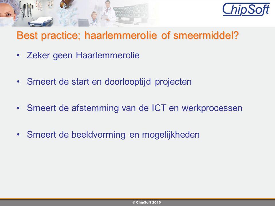 Lessons learned Input uit verschillende bronnen Afstemming is van groot belang Noodzakelijk bij flexibele oplossingen Verwachtingmanagement, projectfasering Goed voorbereid de implementatie in Best Practice is een cyclisch proces
