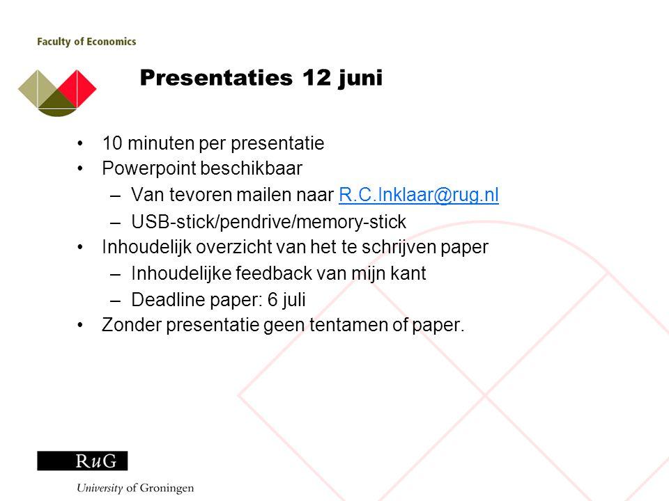 Presentaties 12 juni 10 minuten per presentatie Powerpoint beschikbaar –Van tevoren mailen naar R.C.Inklaar@rug.nlR.C.Inklaar@rug.nl –USB-stick/pendri