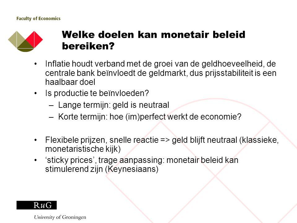 Welke doelen kan monetair beleid bereiken? Inflatie houdt verband met de groei van de geldhoeveelheid, de centrale bank beïnvloedt de geldmarkt, dus p