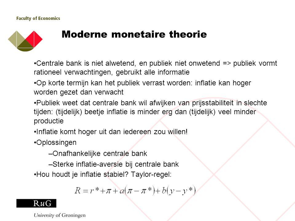 Moderne monetaire theorie Centrale bank is niet alwetend, en publiek niet onwetend => publiek vormt rationeel verwachtingen, gebruikt alle informatie