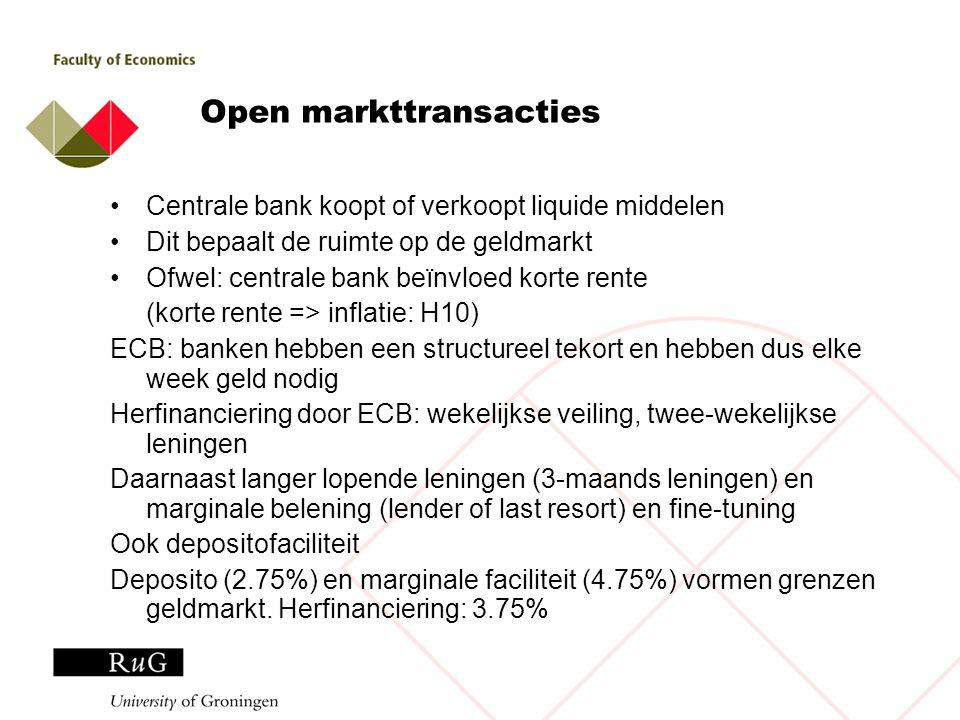 Open markttransacties Centrale bank koopt of verkoopt liquide middelen Dit bepaalt de ruimte op de geldmarkt Ofwel: centrale bank beïnvloed korte rent
