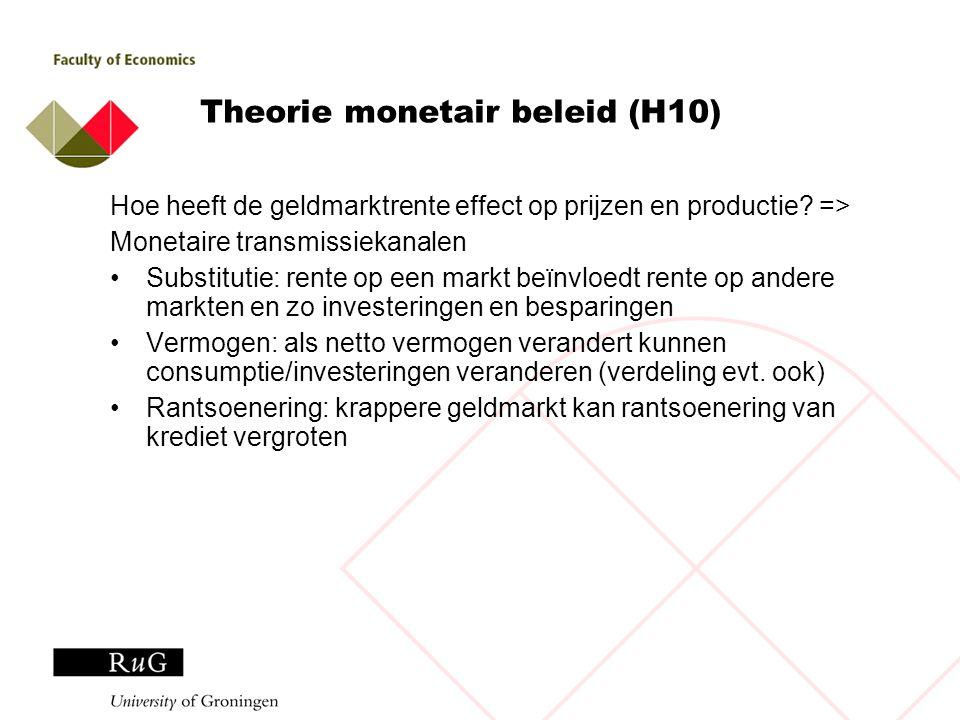 Theorie monetair beleid (H10) Hoe heeft de geldmarktrente effect op prijzen en productie? => Monetaire transmissiekanalen Substitutie: rente op een ma