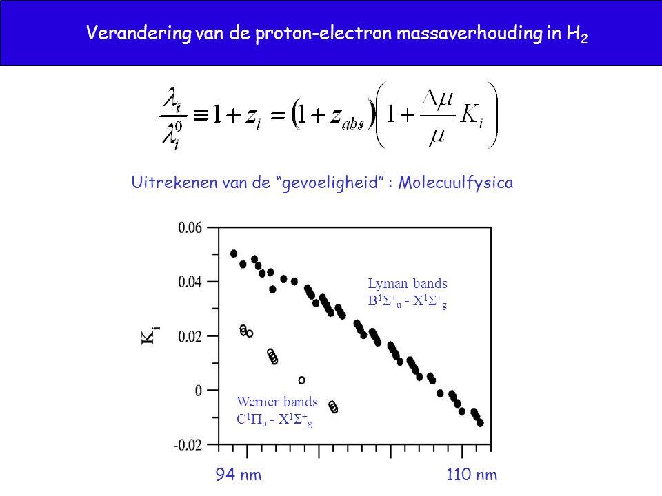 Verandering van de proton-electron massaverhouding in H 2 Lyman bands B 1  + u - X 1  + g Werner bands C 1  u - X 1  + g 94 nm 110 nm Uitrekenen van de gevoeligheid : Molecuulfysica