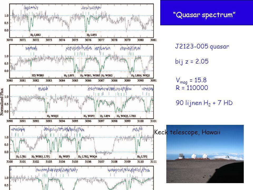 """Quasar spectrum"" J2123-005 quasar bij z = 2.05 Keck telescope, Hawaii V mag = 15.8 R = 110000 90 lijnen H 2 + 7 HD"