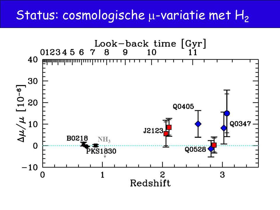 Status: cosmologische  -variatie met H 2 NH 3