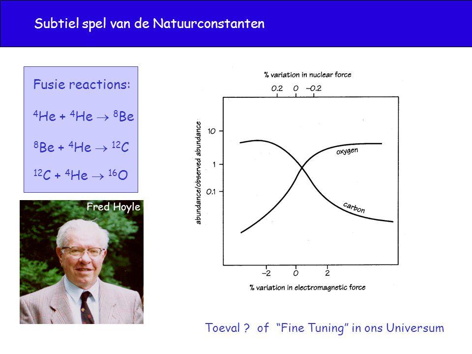 4 He + 4 He  8 Be 8 Be + 4 He  12 C 12 C + 4 He  16 O Fusie reactions: Subtiel spel van de Natuurconstanten Fred Hoyle Toeval .