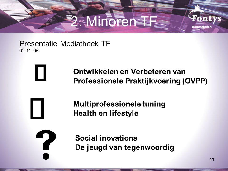 11 2. Minoren TF  Ontwikkelen en Verbeteren van Professionele Praktijkvoering (OVPP)   Multiprofessionele tuning Health en lifestyle Social inovati