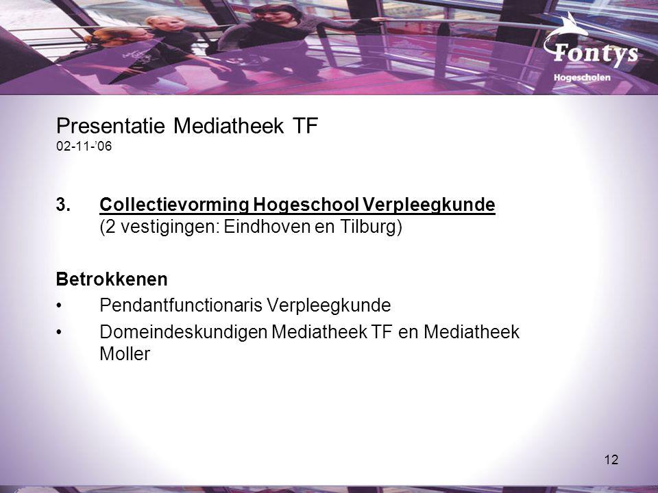 12 Presentatie Mediatheek TF 02-11-'06 3.Collectievorming Hogeschool Verpleegkunde (2 vestigingen: Eindhoven en Tilburg) Betrokkenen Pendantfunctionar