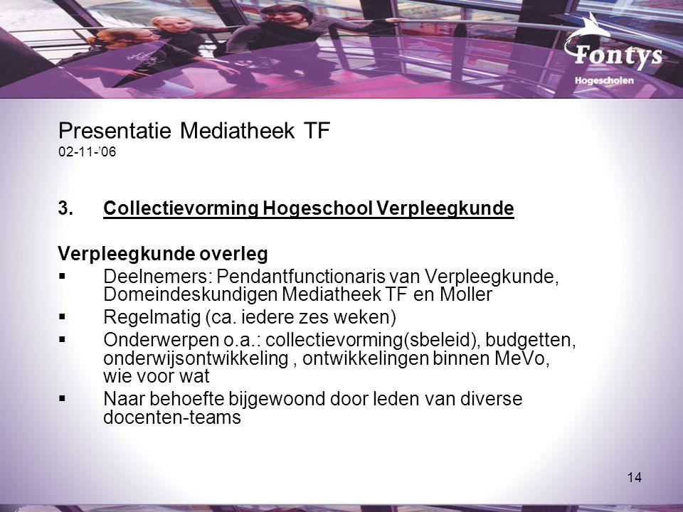 14 Presentatie Mediatheek TF 02-11-'06 3.Collectievorming Hogeschool Verpleegkunde Verpleegkunde overleg  Deelnemers: Pendantfunctionaris van Verplee
