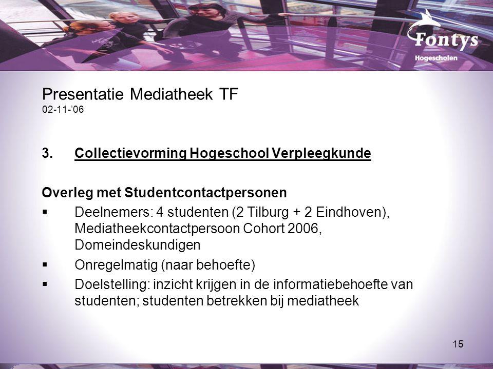 15 Presentatie Mediatheek TF 02-11-'06 3.Collectievorming Hogeschool Verpleegkunde Overleg met Studentcontactpersonen  Deelnemers: 4 studenten (2 Til