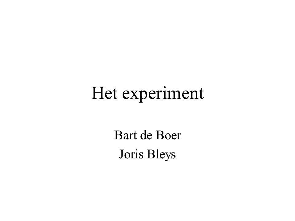Het experiment Bart de Boer Joris Bleys