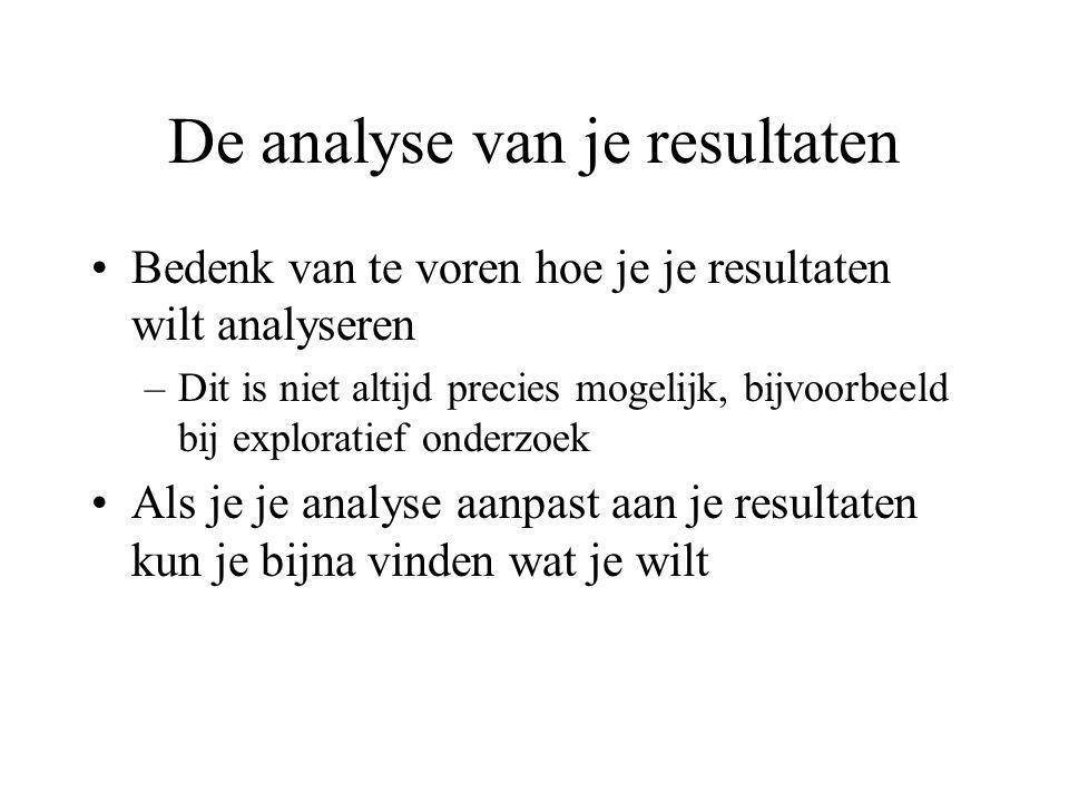 De analyse van je resultaten Bedenk van te voren hoe je je resultaten wilt analyseren –Dit is niet altijd precies mogelijk, bijvoorbeeld bij exploratief onderzoek Als je je analyse aanpast aan je resultaten kun je bijna vinden wat je wilt
