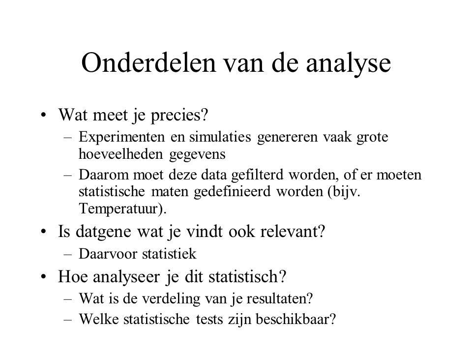 Onderdelen van de analyse Wat meet je precies.